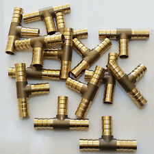5pcs 3/8'' Hose Barb Tee Brass Pipe 3 Way T Fitting Thread Gas Fuel Water Parts