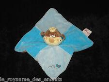 Doudou carré plat Singe Bengy marron beige bleu orange écharpe laine papillon