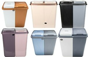 90L Dual Compartment Kitchen Rubbish Bin Waste Recycling And Laundry Basket