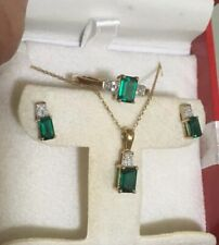 STS 10k Yellow Gold Green Tourmaline Diamond Ring Pendant Necklace Earring Set