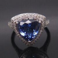 1,75 Karat 925 Sterling Silber Natürlich Blau Tansanit Billion Cut Ring