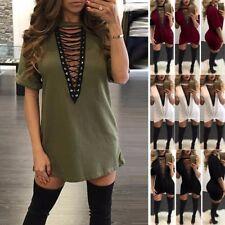 UK Womens Summer Choker Lace-up Tie Plunge Short Sleeve Tops T-Shirt Mini Dress