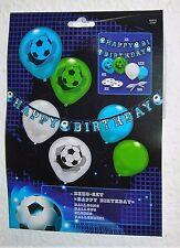 21 tlg Fußball Dekoset Partyset Partykette Happy Birthday Luftballon Banner