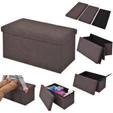 Folding Rect Ottoman Bench Storage Stool Box Footrest Furniture Home Decor Brown