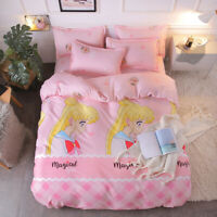 Anime Sailor Moon Cotton Bed Sheet Quilt Cover Pillowcase Gift Duvet Covers Set