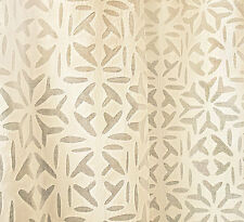 """Remarkable, Hand-Appliqued Curtain Panel. White Cotton With All-Over Design. 84"""""""