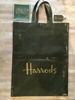 Genuine Green Harrods PVC/Cotton Shopping Bag+Ash Tray+Key Ring-Excellent Cond