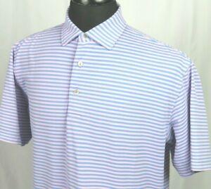 Men's Peter Millar Summer Comfort Stiped Stretch Polo Golf Shirt Medium