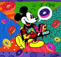 QUADRO MODERNO ASTRATTO DONUTS LOVE DIPINTO A MANO LOVE MICKEY POP ART MOUSE