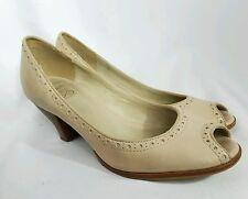 Clarks Womens Nude Beige Tan Peep Toe Heels Shoes size 7 M EUC SH