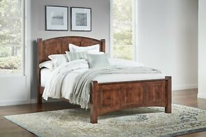 QUICK SHIP Amish Shaker Panel Bed Solid Wood Curved Headboard Queen King Finland