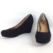 "A.N.A. Size 9 M Black ""Kenny"" Wedge Pump Manmade Suede Womens Heel Shoes"