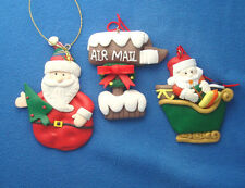 """lot of 3 clay dough Christmas ornaments 3"""" santa in sleigh mail box and red"""