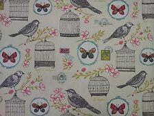 Clarke e Clarke MELODIE NATURALI Uccelli Farfalle TIMBRO Curtain Craft tessuto