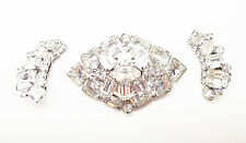 ANTIQUE WEISS CLEAR CRYSTAL RHINESTONES DEMI-PARURE SILVER BROOCH EARRING SET