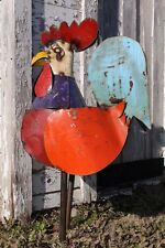 """39"""" Recycled Metal Ronnie Rooster Metal Bird Lawn Decor"""