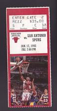 Jan 17 1992 Chicago Bulls vs San Antonio Spurs Ticket Stub Michael Jordan 31-4-8