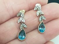 Vintage 9ct Art Deco Yellow Gold Blue Topaz Diamond Leaf Drop Earrings