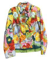 Coldwater Creek Multicolor Floral Jacket Size XS Zip Up Front Cotton Stretch