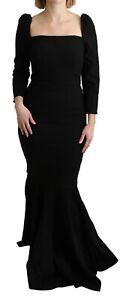DOLCE & GABBANA Dress Stretch Black Sheath Mermaid Floor Length IT42/US8/M $6500