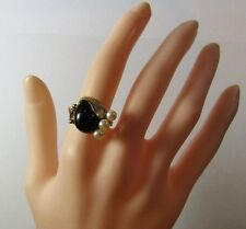 Vintage 14K 14KT Yellow Gold Leaf RETRO 1950s Black Onyx Pearl Ring Size 7.25