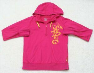 Nike Dri Fit Red & Orange Hooded 1/2 Zip Sweatshirt Top Cotton Poly Long Sleeve