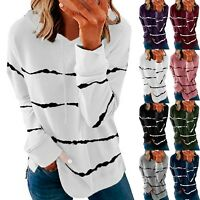 Women Striped Long Sleeve Tops Sweatshirt Ladies Pullover Hooded Shirt Blouse AN