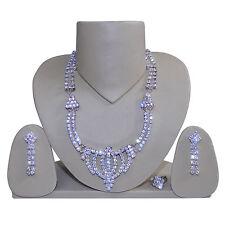 Set brillante collar plateado pendientes anillo joyas India accesorios moda