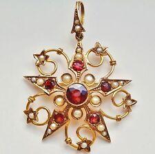 Stunning Antique Edwardian 9ct Gold Garnet & Pearl Starburst Pendant c1910