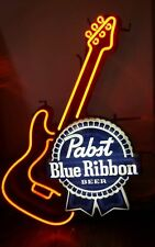 """New Pabst Blue Ribbon Guitar Beer Neon Sign 17""""x14"""""""