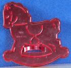 """EUC Vintage ROCKING HORSE Cookie Cutter IMPRESSION PLASTIC Red HRM 3.25"""" x3"""" USA"""