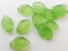 15MM PERIOD GREEN CZECH GLASS LEAF BEADS FOR JEWELLERY MAKING - Z067 (20PCS)