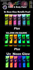 UV Glow Neon Face Paint  Glow In The Dark Face Paint  18 x 15ml  Artistic Den