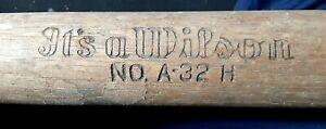 Vintage Antique Wilson # A-32 H Baseball Bat, Hickory Indoor model