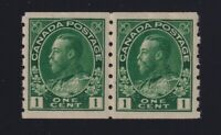 Canada Sc #125 (1912) 1c green Admiral Coil Pair Mint VF NH