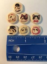 Set Of 7 Wooden Cat Buttons. Adorable Designs. A Cats Life