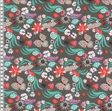 Sweatshirt Jersey Knit Fabric-Floral Butterflies Grey -94%Cotton6%Elastane HalfM