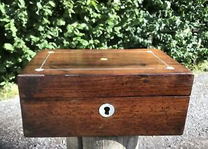 Antique Rosewood Jewellery Box SMALL pewter Stringing Inlaid MOP A/F