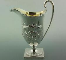 Antique georgian solid silver cream jug casque style 1785 wakelin & taylor 215gm