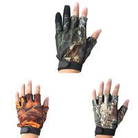 FJ- 1 Pair Neoprene 3/5 Cut Fingers Gloves for Outdoor Fishing Hunting