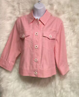 RUBY ROAD Pink Gingham Jean Style Button Front Jacket Size 10 - EUC