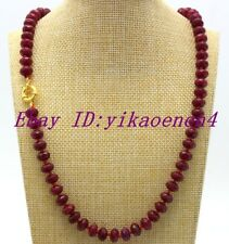 """Natural 5x8mm Brazilian Red Ruby Faceted Rondelle Gemstones Beads Necklace 18""""AA"""