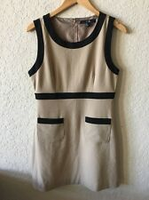 Womens FOREVER 21 Straight Pencil Dress Tan Black Sleeveless M