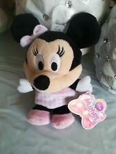 Doudou Peluche  Minnie Disney Nicotoy robe rose clair vichy losange noeud NEUF