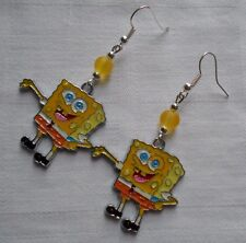 Handmade Nickelodeon Spongebob Squerpants drop silver plated earrings enamel S07