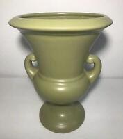 """Vintage Haeger Pottery Double Handle Urn Vase 9"""" Planter Matte Olive Green 1999"""