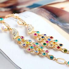 Colorful Hot Rhinestone Crystal Clear Peacock Bracelet Cuff Women Bangle