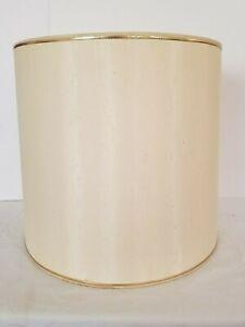 Vintage Mid Century Drum Lamp Shade, Barrel Linen Retro