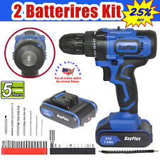Portable Cordless Drill Li-Ion Electric Driver Kit Tool Repair Set 21V max US