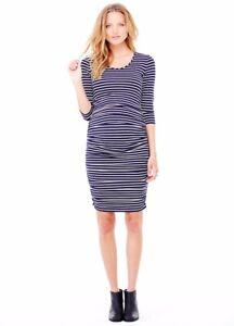 Ingrid & Isabel Maternity 3/4 Sleeve Navy / White Stripe Shirred Dress Small 4 6
